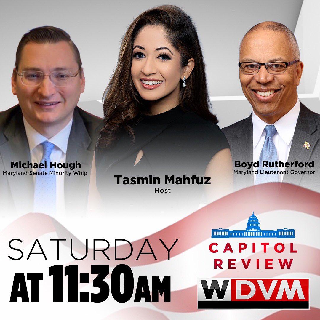 WATCH: Maryland Lieutenant Governor @BoydKRutherford & Maryland Senate Minority Whip @senatorhough on Capitol Review with @TasminMahfuz.   @WDVMTV Sat — 11:30am WDVM Sun — 5:30am & 10:30am  @DCW50 Sun — 11am & 4pm   https://t.co/8skvCQpAlO https://t.co/kUrJkwTOYu