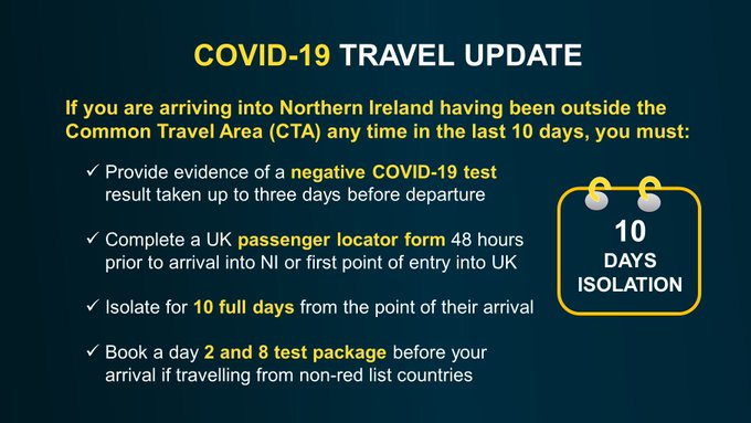 If you are arriving into Northern Ireland having been outside the Common Travel Area (CTA) any time in the last 10 days, you must: Provide evidence of a negative COVID-19 test result taken up to three days before departure Complete a UK passenger locator form 48 hours prior to arrival into NI or first point of entry into UK Isolate for 10 full days from the point of their arrival Book a day 2 and 8 test package before your arrival if travelling from non-red list countries