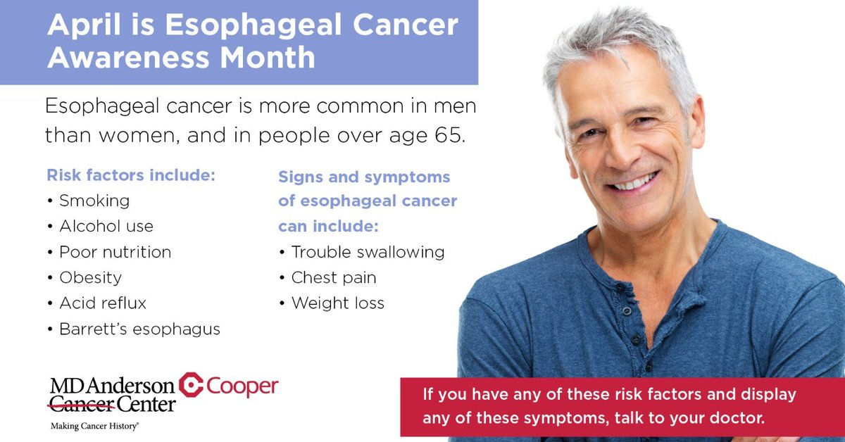 April is #EsophagealCancerAwarenessMonth. #Esophagealcancer is more common in men than women, and in people over age 65. To learn more about this disease, including risks, signs & symptoms, and treatment options, visit https://t.co/T8LHomFMBH #endcancer #cooperstrong 💙 https://t.co/TOlgTBPw6f
