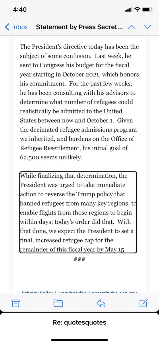 In new statement, ⁦@PressSec⁩  says the administration is looking to increase the refugee cap For the rest of this fiscal year, which ends in September, by May 15