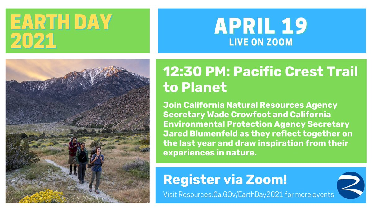 This coming Monday, we will kick off a week of events celebrating #EarthDay2021 with a special conversation between Secretary @WadeCrowfoot and @CaliforniaEPA Secretary Jared Blumenfeld. Register today! 🎦https://t.co/n7XnUAzQA5 https://t.co/9Yg4QhhHNZ