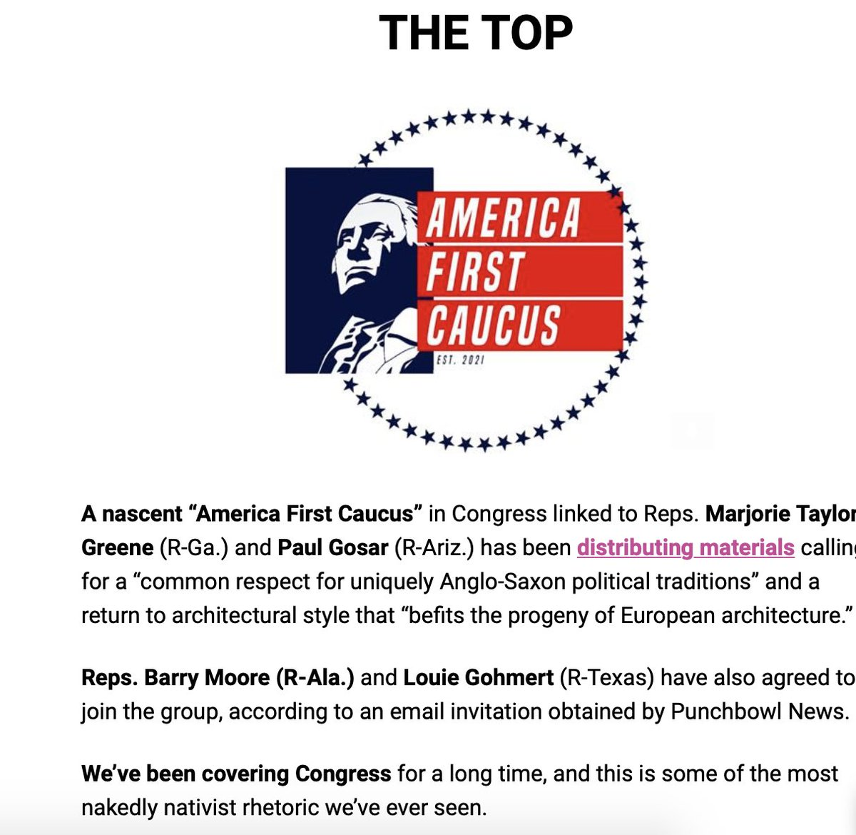 """NEW In @PunchbowlNews Midday  A new America First Caucus — led by @mtgreenee and @RepGosar — is recruiting people to join based on """"Anglo-Saxon political traditions"""" architectural style that """"befits the progeny of European architecture""""  Some of the most nativist stuff we've seen https://t.co/diPDItUt2V"""