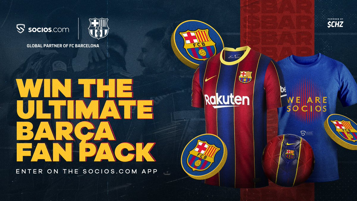 """Socios.com on Twitter: """"🏆To celebrate the Copa del Rey Final, we're rewarding $BAR Token holders with the ultimate fan pack. - 2020/21 Match Edition Kit - Socios x Barça Fan Shirt - $"""