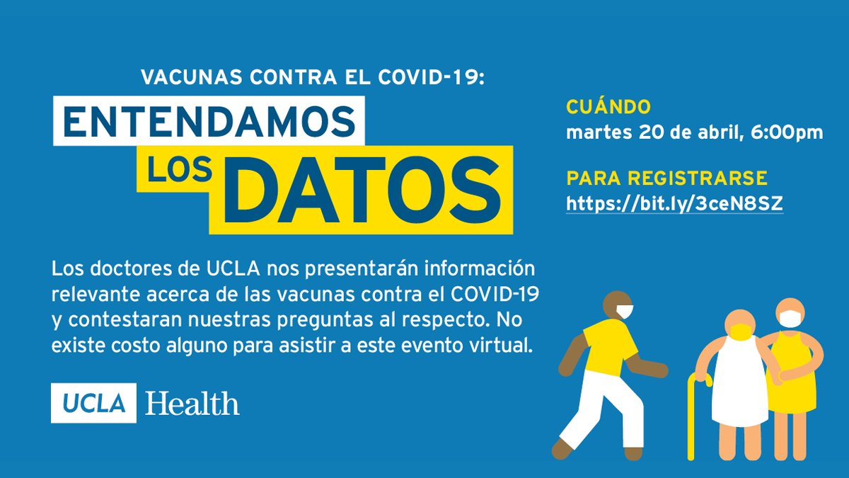 On April 20 at 6 pm, #UCLAHealth infectious disease physicians will host a virtual event in Spanish to share information and answer questions about the #COVID19 #vaccines.  Learn more. ➨ https://t.co/mruoQBV1Vf https://t.co/lVlWxv3w10
