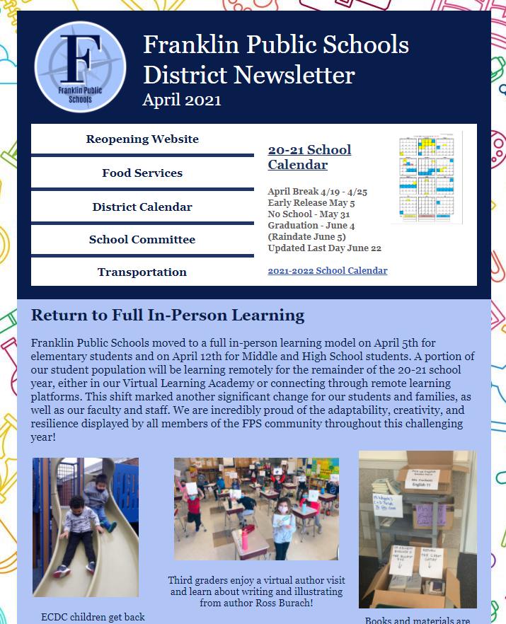 Franklin Public Schools: District Newsletter - April 2021