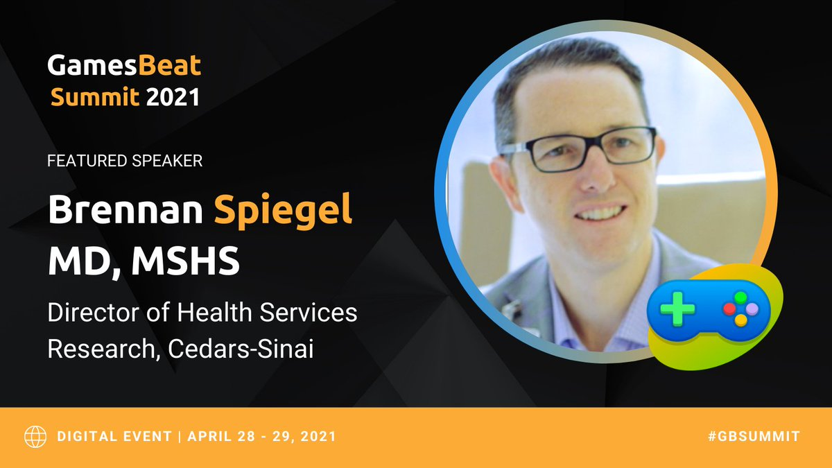 Looking forward to joining @GamesBeat Summit '21 to discuss #VR in healthcare.
