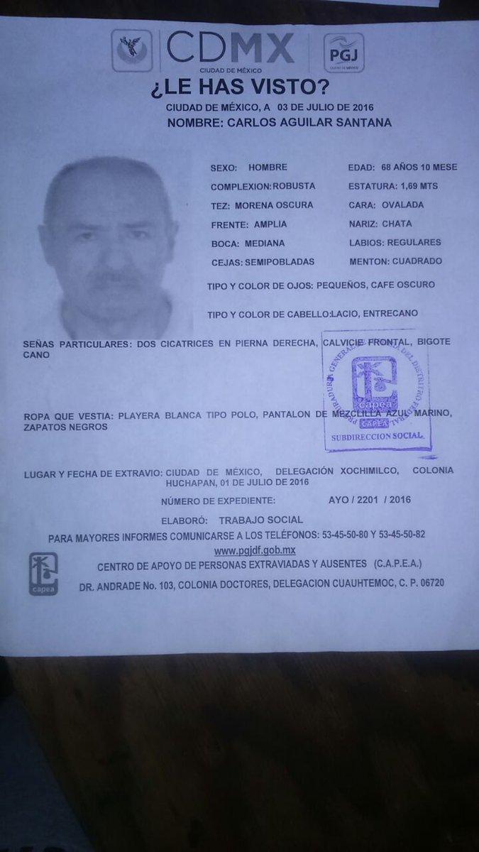 #TeBuscamos Carlos Aguilar Santana, 68 años, 1/7/16 #Xochimilco #CDMX 53455080/82 #911 https://t.co/V06BCviB7a