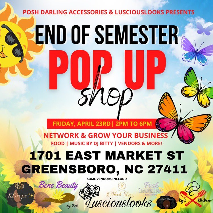 Come out to support your favorite brands in Greensboro!  Food by @VybezKitchen   Music by @708LitBit   #gso #ncat #wssu #nccu