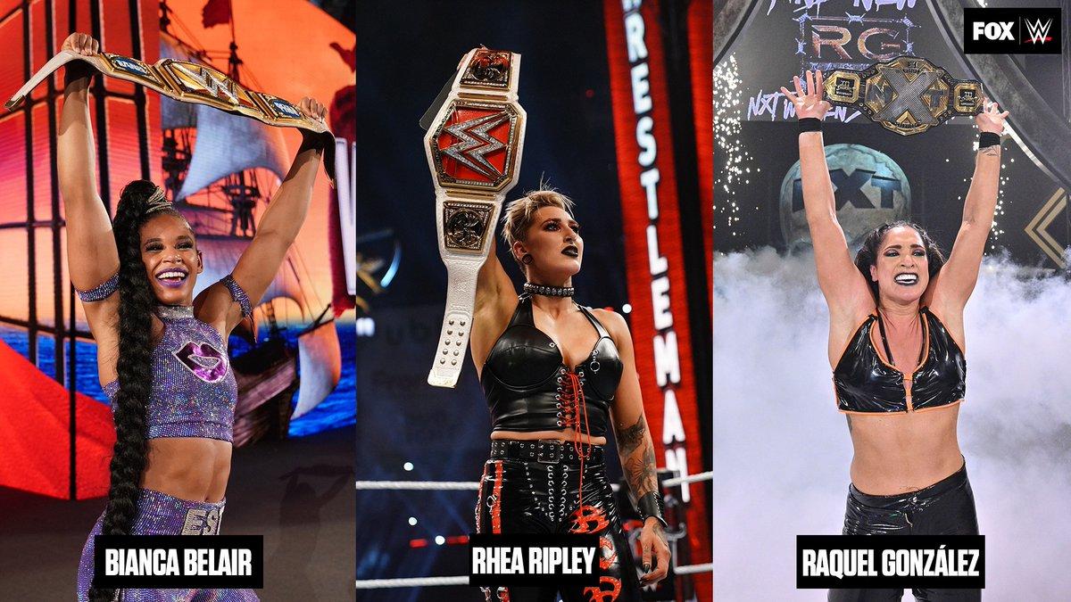 RT @WWEonFOX: Who will lose their Women's Championship first? A) @BiancaBelairWWE  B) @RheaRipley_WWE  C) @RaquelWWE https://t.co/x9IOZOzLRW