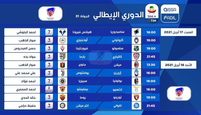 جدول معلقي مباريات الدوري الايطالي يومي