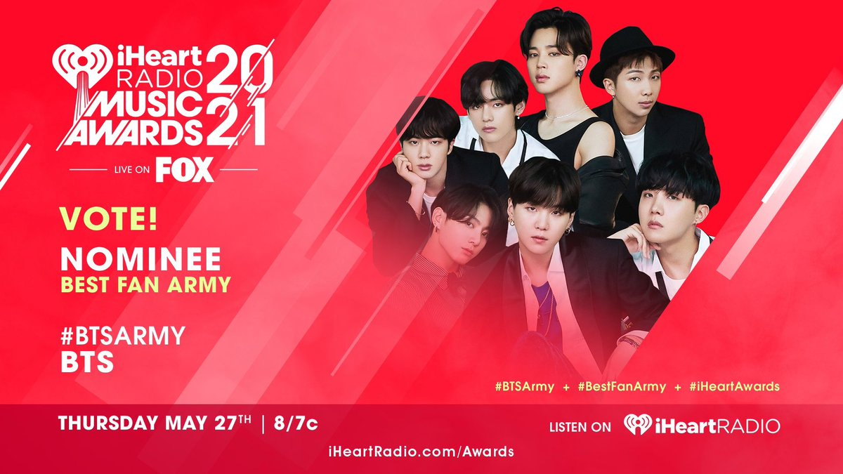 RT @armybtsworld: RT to vote #BTSArmy for #BestFanArmy at #iHeartAwards 2021  @BTS_twt https://t.co/VyBCTO2QW6