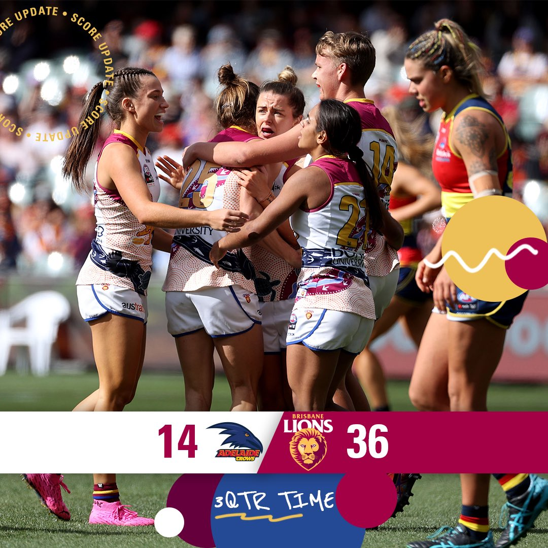 Late goals from Arnell and Dawes and the lead extends. 1 quarter of footy left for the season.  #aflwgf #uncaged https://t.co/zUrQRzd4i1.