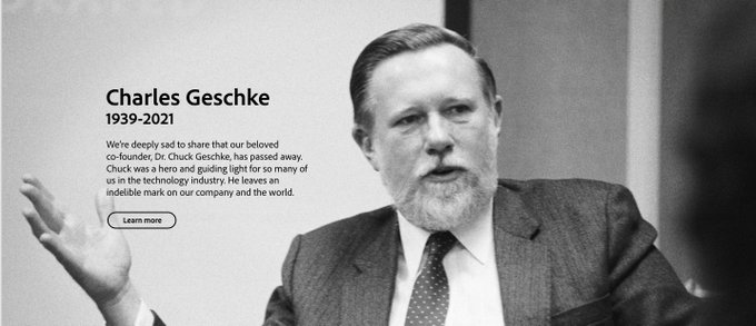A black and white photo of Adobe's co-founder, Dr. Chuck Geschke.
