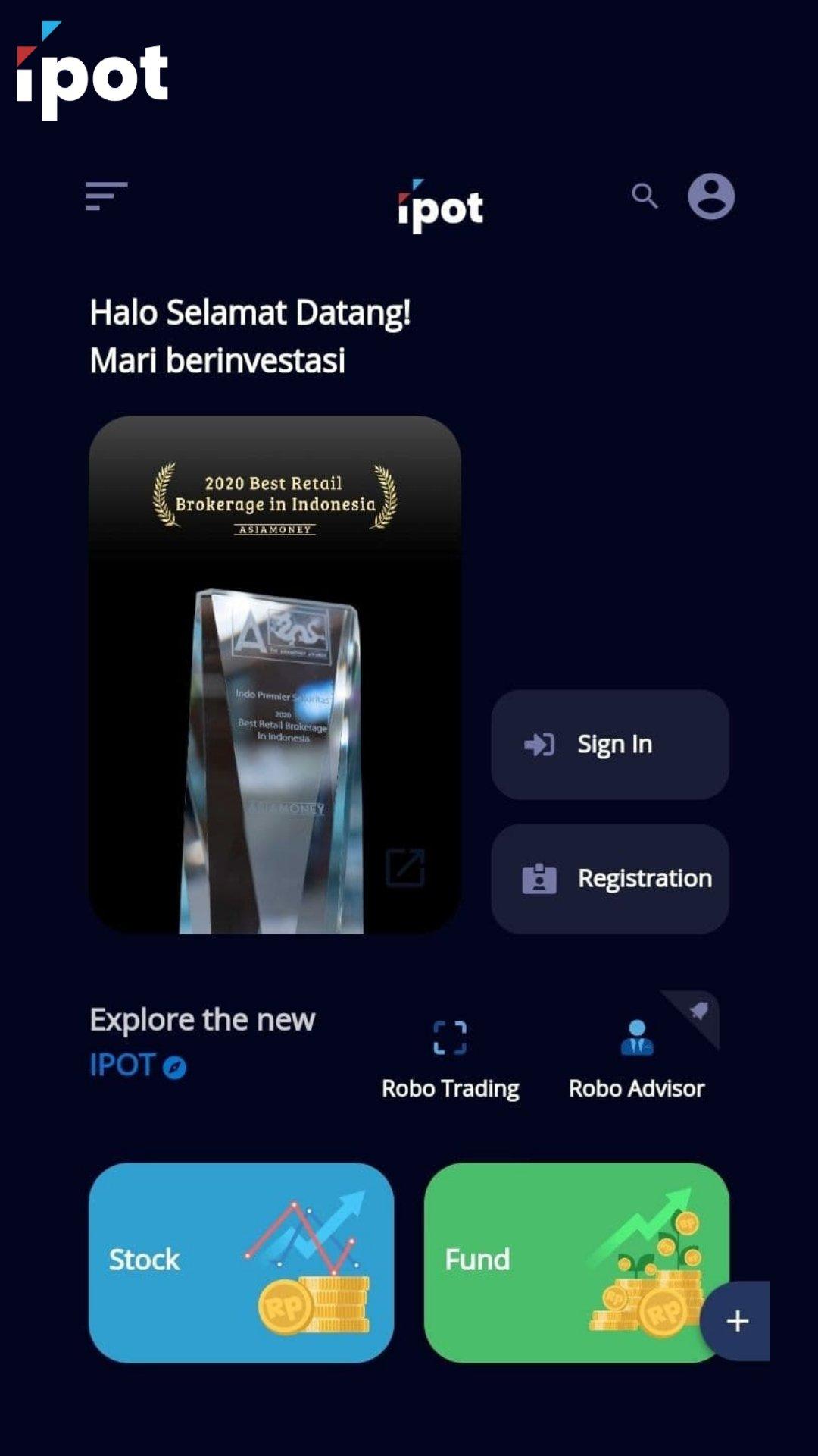 tampilan awal aplikasi ipot dari indo premier untuk siapa saja, karena semua bisa investasi