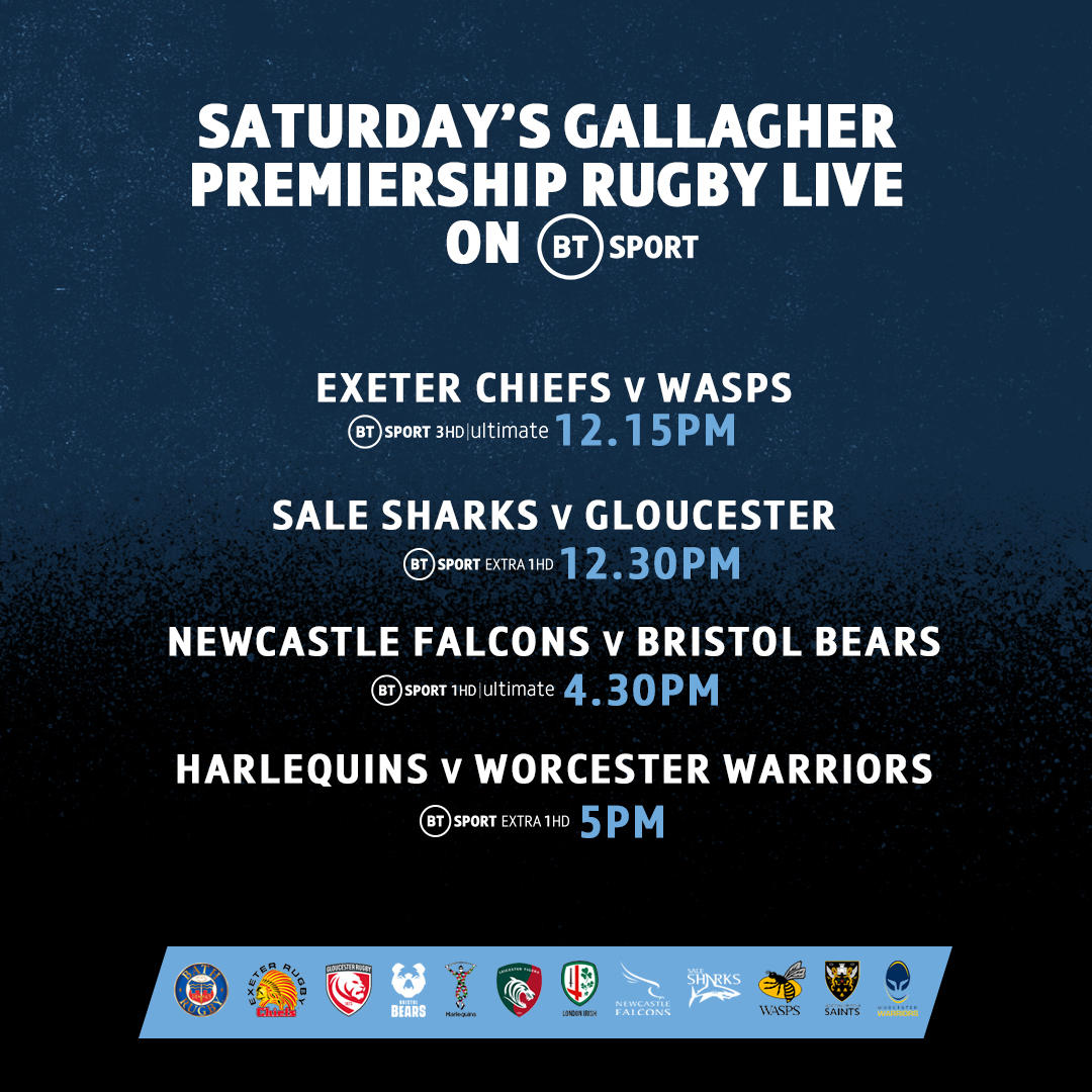 test Twitter Media - Just the 10 tries at Franklin's Gardens ​last night! 🤯🤩  🏹 Exeter Chiefs v Wasps 🐝 🦈 Sale Sharks v Gloucester 🍒 🦅 Newcastle Falcons v Bristol Bears 🐻 🃏 Harlequins v Worcester Warriors 🛡  What's in store today in the #GallagherPrem? 🏉 https://t.co/nTOFQXhE4X