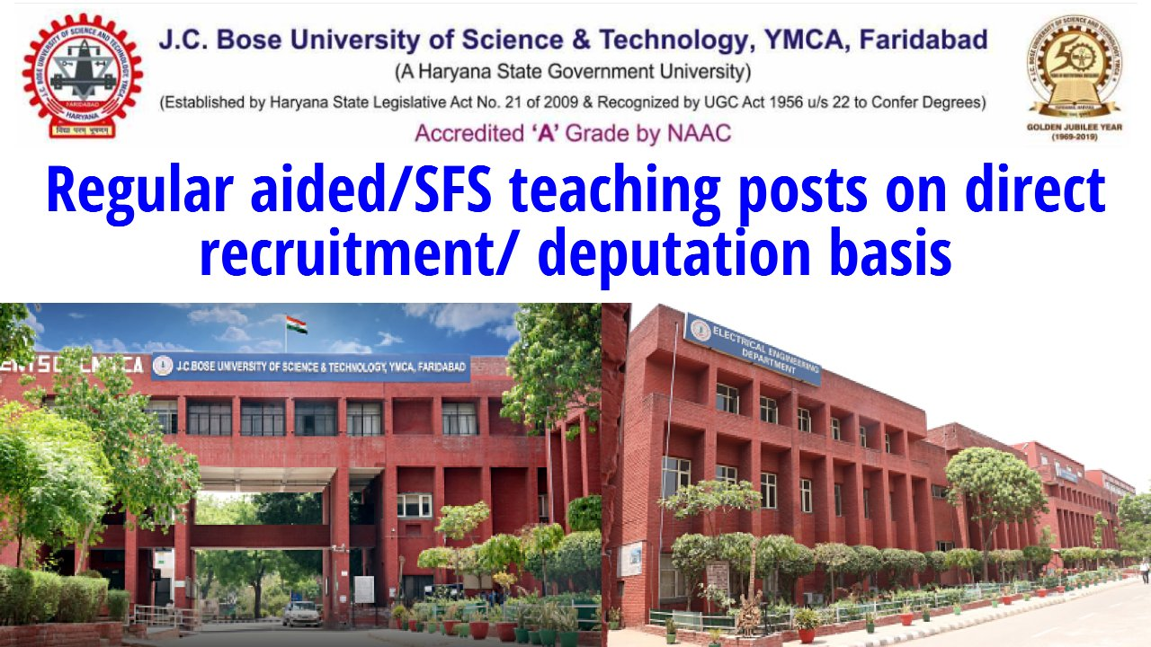 Faculty Position at J. C. Bose University of Science and Technology, YMCA, Faridabad