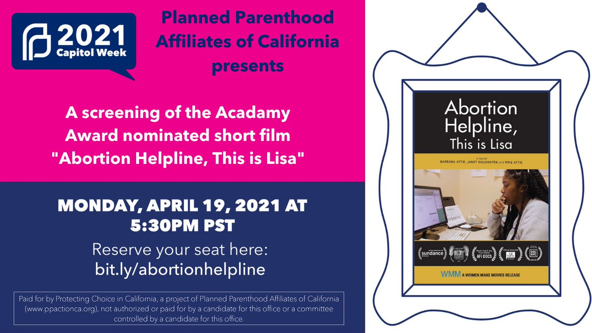 "Join me Monday night at 5:30pm, for a virtual screening of the short film ""Abortion Helpline, This is Lisa."" I'll be asking special guest Director @JanetGoldwater about the inspiration and making of the film, then having a convo with members of @CaWomensCaucus + PP leadership."