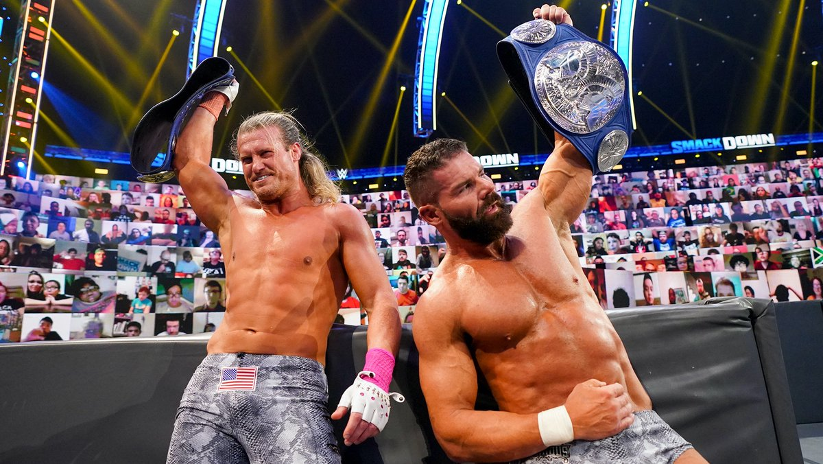 #AndStill The Dirty Dawgs RETAIN their #SmackDown Tag Team Champions Title! https://t.co/UjlL8ygrvu