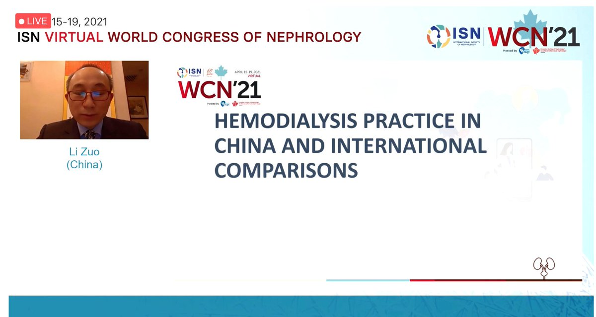 """""""Hemodialysis practice in China and international comparisons"""" by Li Zuo The @DOPPStudy at the #ISNWCN 2021 @ISNWCN  #CKD #Care #HealthSystems #China https://t.co/HPai3WqN8B"""
