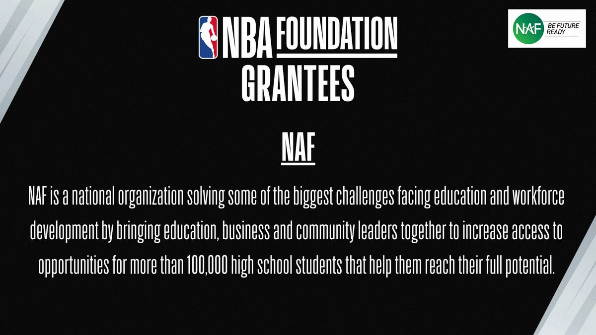 NBA Foundation is excited to partner with @NAFCareerAcads to prepare more than 100,000 high school students for college & careers by increasing access to career exposure & preparation opportunities that help them reach their full potential. Learn more at https://t.co/DLkFnUkGfM. https://t.co/7Tmcoqb9Fu