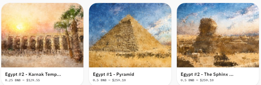 Just created my first #NFTs starting my Around the World Collection with #Egypt   Only on @airnfts #BNB   https://t.co/cQhQoC6H6U  #NFTCommunity #NFT #nftcollector #NFTdrop https://t.co/dgRjnuZ5qC