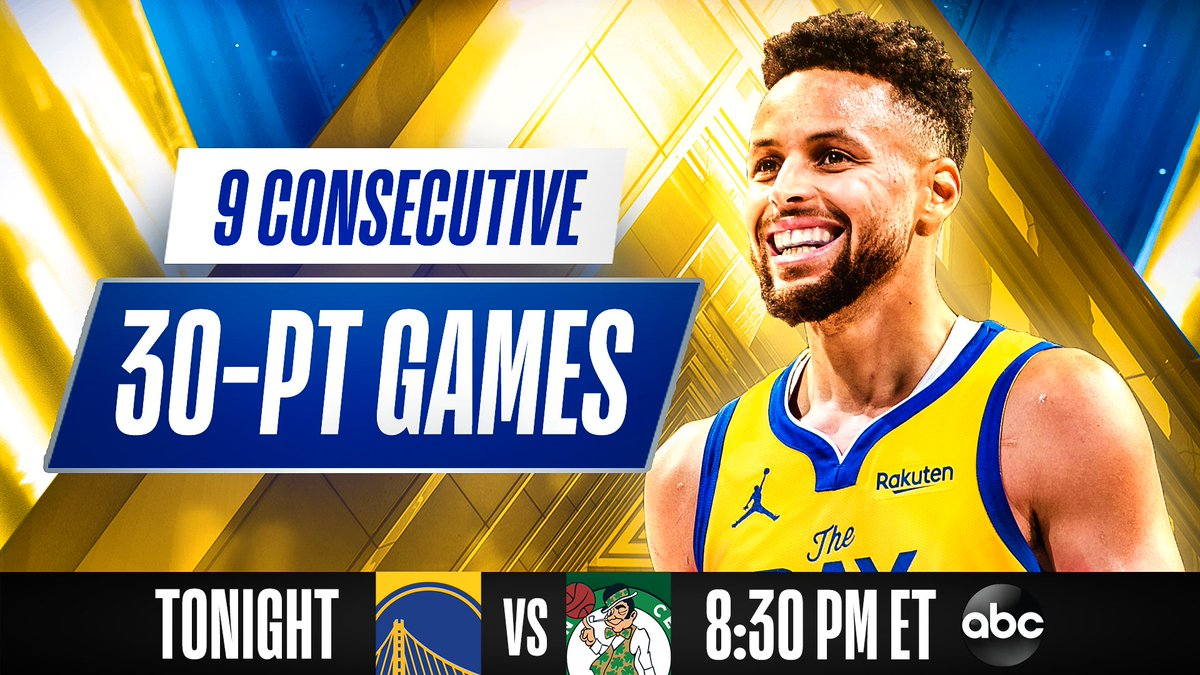 STEPH looks to extend the NBA's longest 30-point game streak this season at 8:30 PM ET tonight on ABC! https://t.co/yp8qtAVLkA