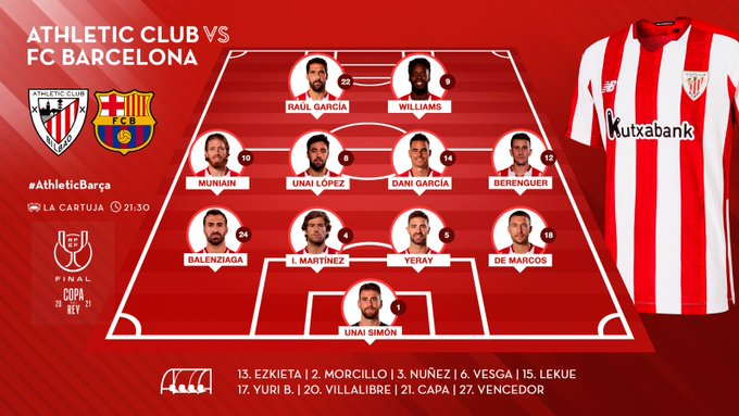 Shaxda rasmiga ah kulanka adag Kooxaha Athletic Bilbao iyo Barcelona ee final-ka Copa del Rey oo la shaaciyey