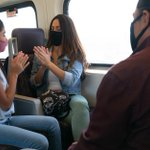 Image for the Tweet beginning: On Metrolink trains face masks are