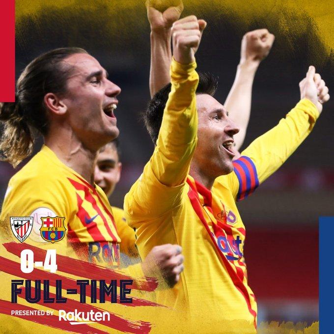 Skor akhir Atheltic Bilbao 0-4 Barcelona