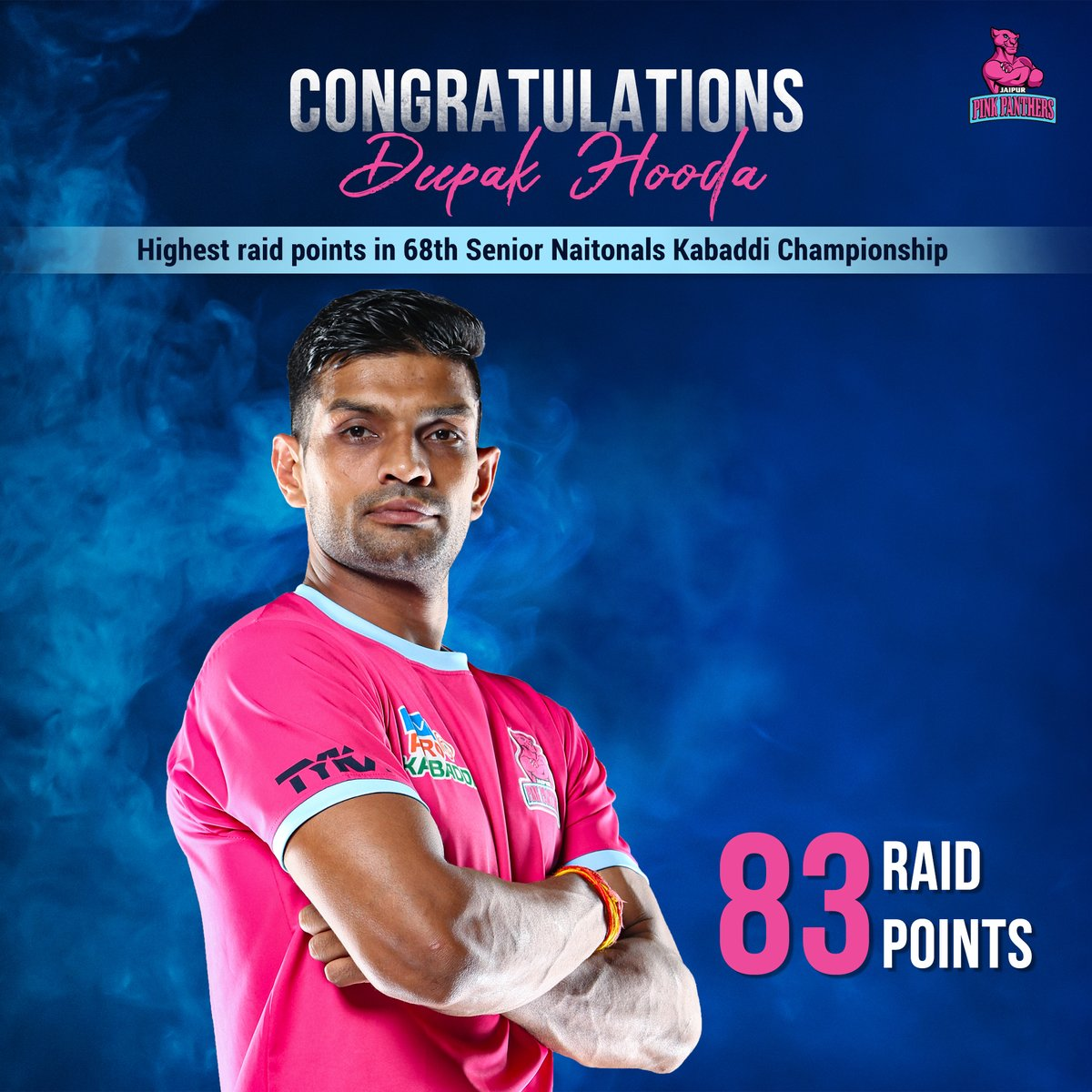 Congratulations @DeepakHooda5555 for topping the Raider's chart with 83 raid points in the 68th Senior Nationals Kabaddi Championship.  #PantherSquad #JaiHanuman #TopCats #JaipurPinkPanthers #JPP #Jaipur #vivoprokabaddi