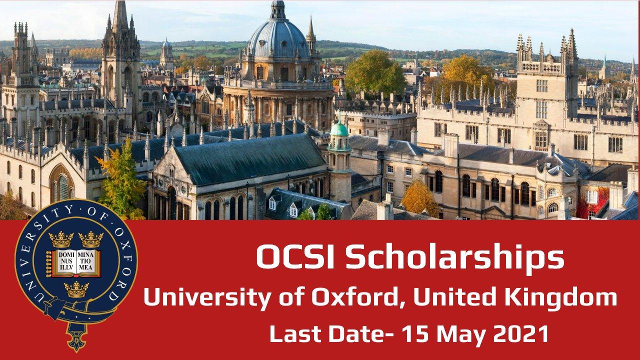 OCSI Scholarships by University of Oxford, United Kingdom
