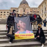 Image for the Tweet beginning: Palermo, #Italy  Italians stand with Myanmar