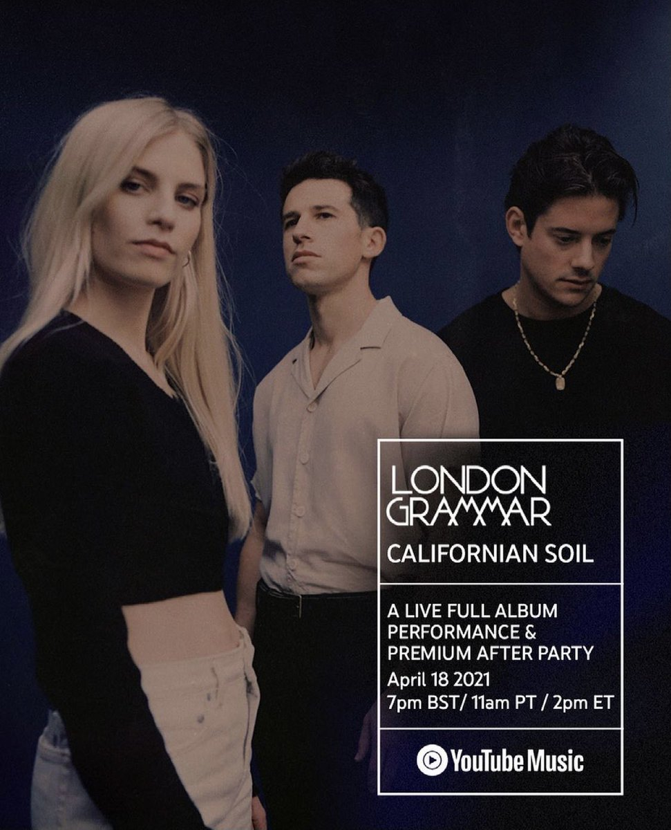 Joining these wonderful people @londongrammar on stage later today at Ally Pally to play their new record. 'Californian Soil' came out this Friday and I'm immensely proud to have made a contribution to several of the tracks ////// @youtubemusic