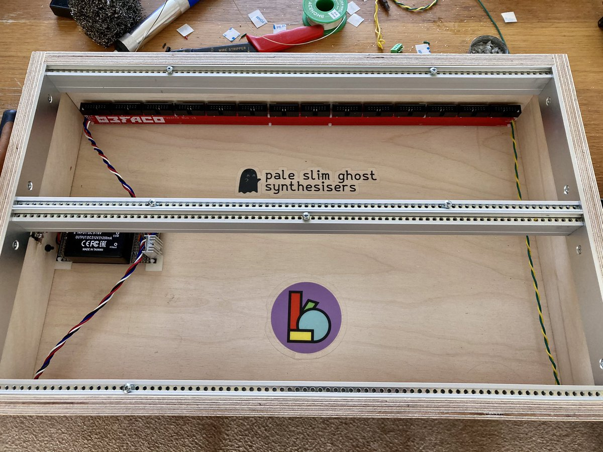 6u eurorack case made from birch plywood with Pale Slim Ghost Synthesisers and Bork Systems stickers