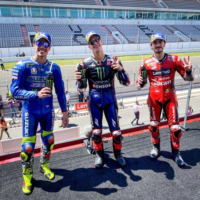 Peraih Podium MotoGP Portugal: Fabio Quartararo (1), Francesco Bagnaia (2), Joan Mir (3)