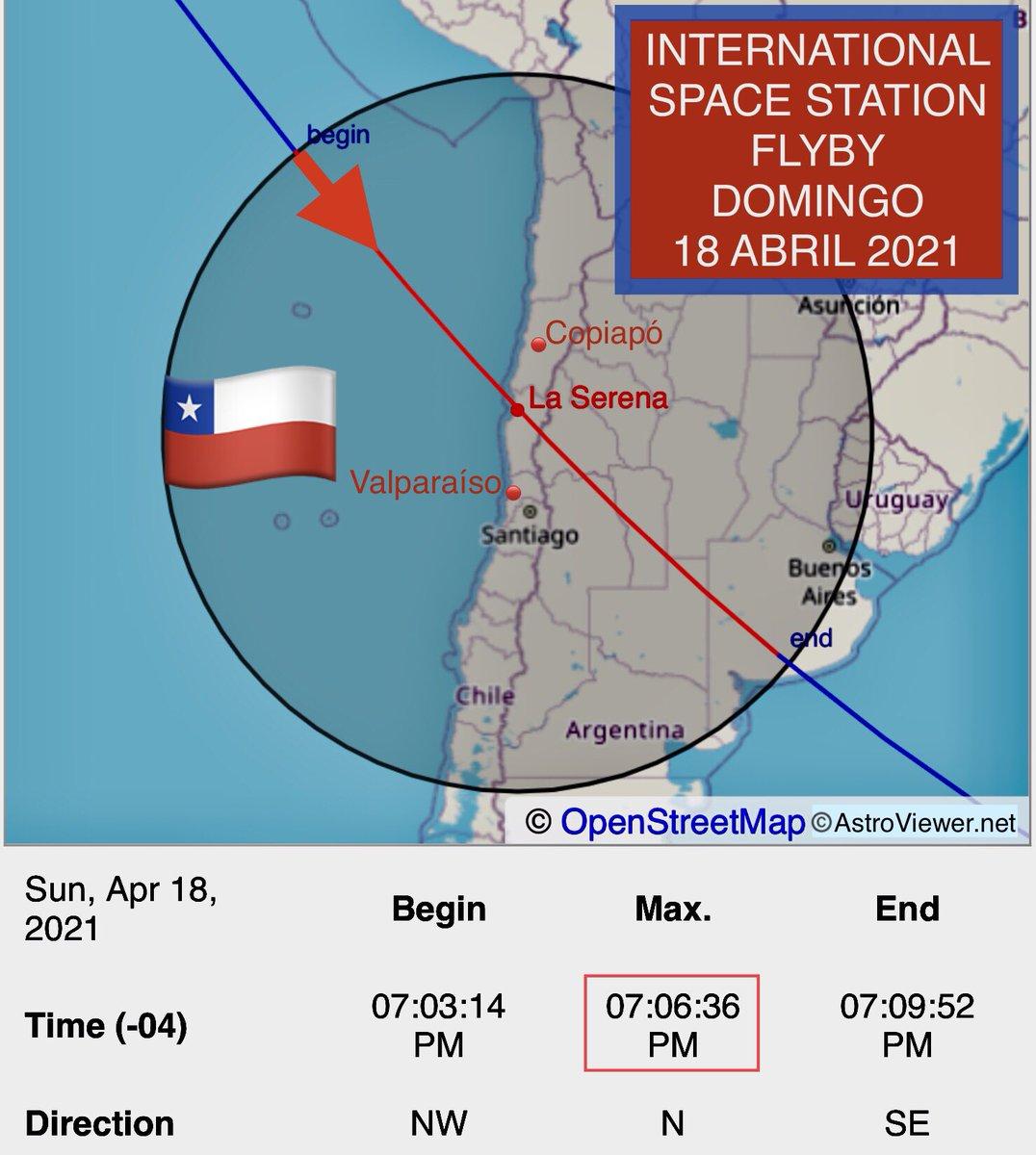RT @IgnazioMagnani 🇨🇱Atacama 🇨🇱Coquimbo 🇨🇱Valparaíso 🇨🇱RM Santiago La Estación Espacial Internacional se podrá ver hoy a simple vista (si las nubes lo permiten) a las 19:06     📲pon alarma   📲toma foto   👨🚀65 https://t.co/fI01cZu979 🌎Yo https://t.co/AvRldva3HX 📸ESA NASA https://t.co/ObNgNAiuqV