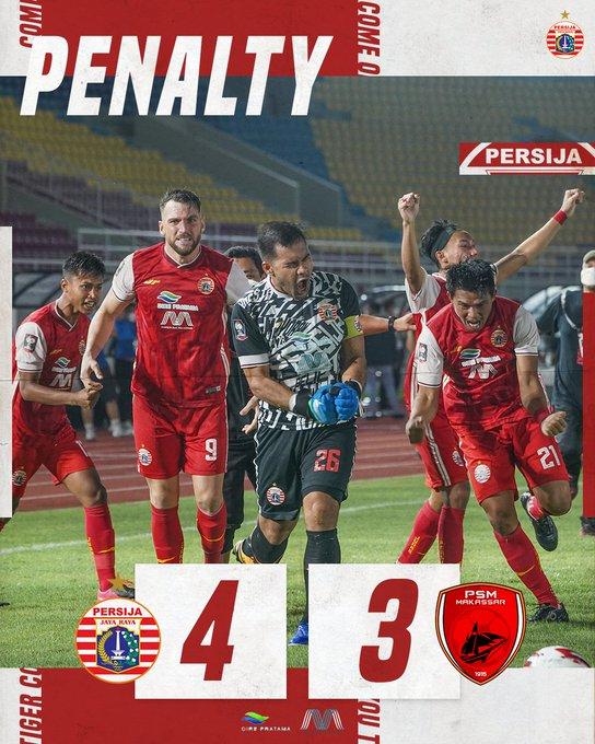 Skor akhir adu penalti Persija Jakarta 4-3 PSM Makassar