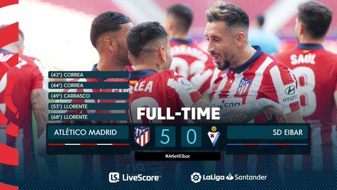 Hasil akhir Atletico Madrid 5-0 SD Eibar