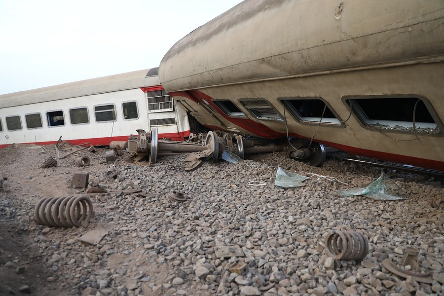 At least 97 people were wounded in train derailment on Sunday in the city of Toukh in Egypt
