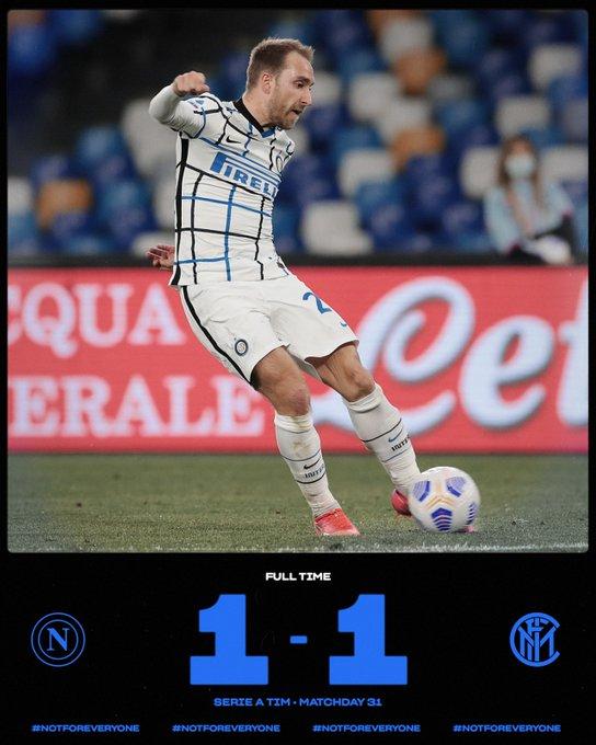 Skor akhir Napoli 1-1 Inter Milan