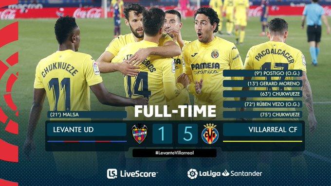 Hasil akhir Levante 1-5 Villarreal