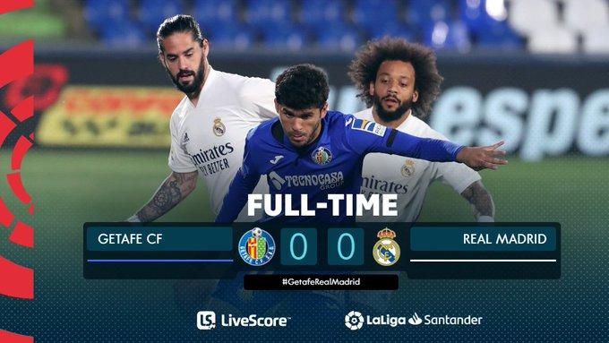 Skor akhir Getafe 0-0 Real Madrid