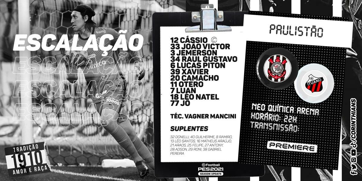 Mancini repete a escalação de terça contra a Ferroviária. Rodízio mantido e os melhores entre esse time e o que jogou contra Guarani e São Bento devem formar os titulares contra o River Plate, na quinta.  #NeoArenaENM