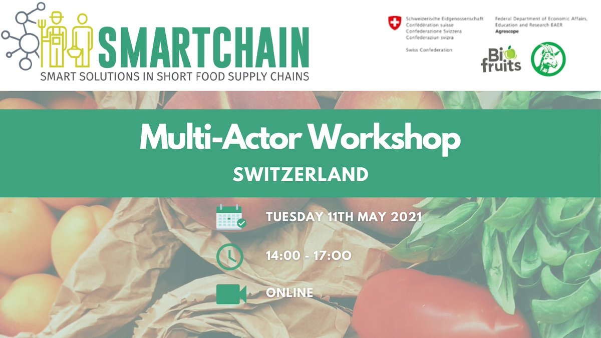 Be sure to register here ➡️ https://t.co/bmoWnWo819 for the @agroscope and the Swiss @Smartchain_EU Hub multi-actor workshop below on 11th May from 14:00-17:00 ⤵️⤵️🧑🌾👩🌾 https://t.co/2P7sYV66bL