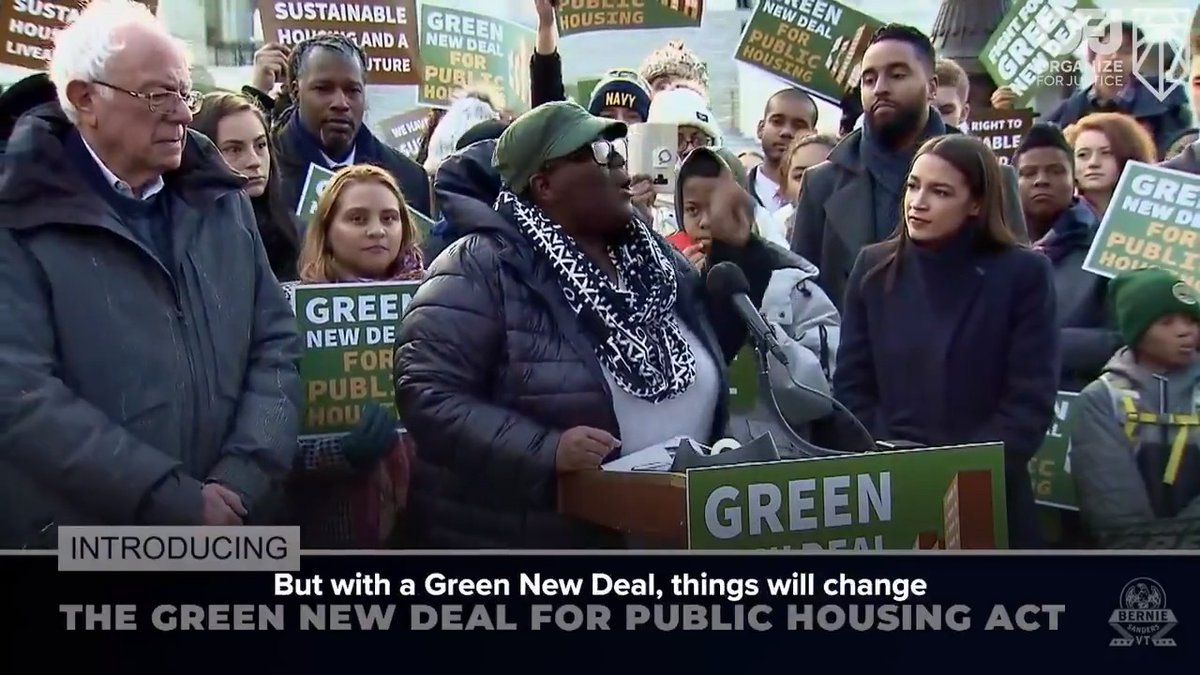 Today we reintroduced the Green New Deal for Public Housing, which will create up to a quarter million US jobs modernizing our public housing stock.  Hear about it from La Keesha Taylor & Jasmin Sanchez, two NYCHA residents who helped me draft the bill. ⬇️ https://t.co/N2pMuhJVtu