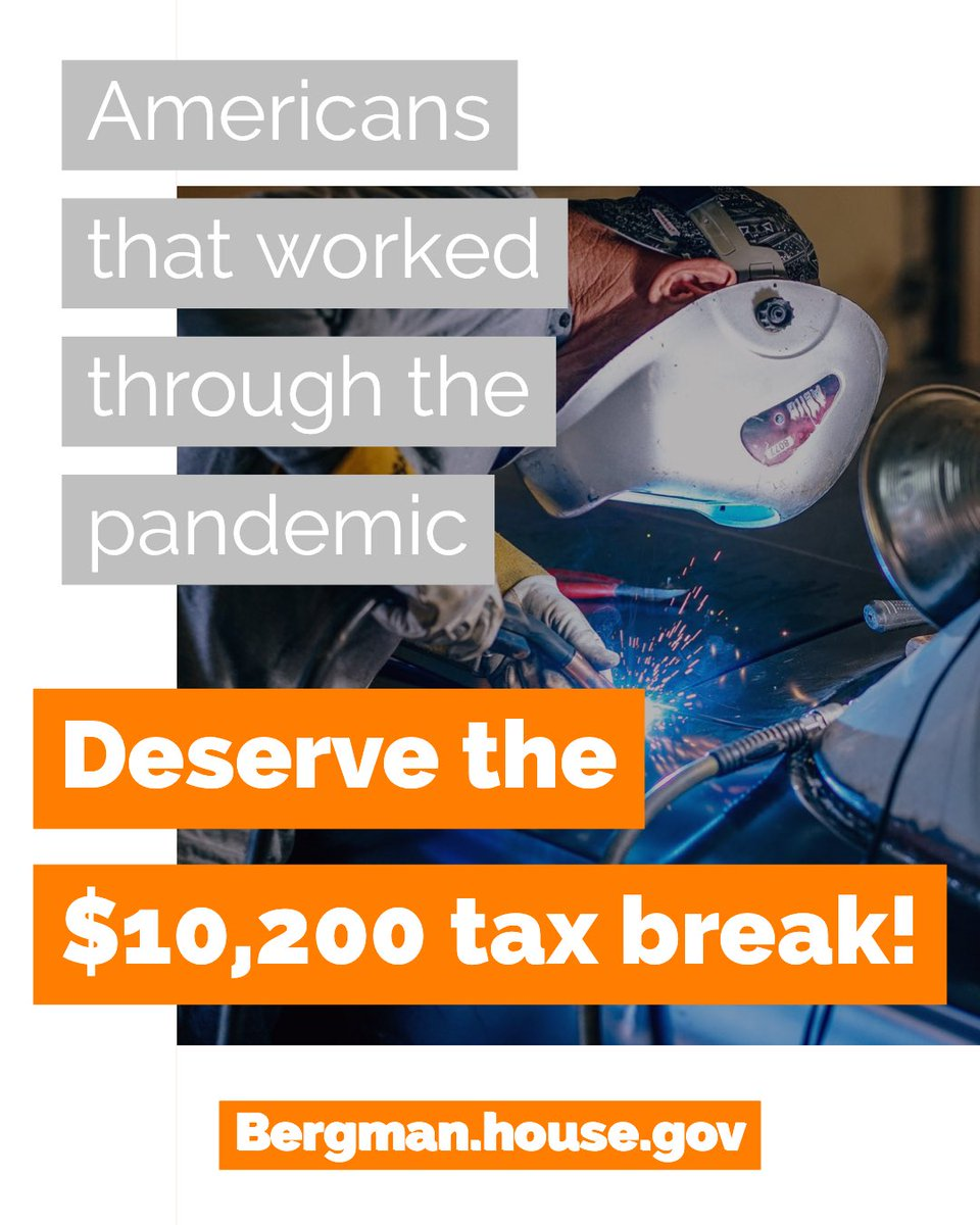 Retweet if you agree ➡️ American workers keeping our economy rolling through the pandemic deserve the $10,200 tax break given to those who had to collect unemployment!   Read more about my legislation here - https://t.co/68GBcJnFgZ https://t.co/k7pFzZZY5J