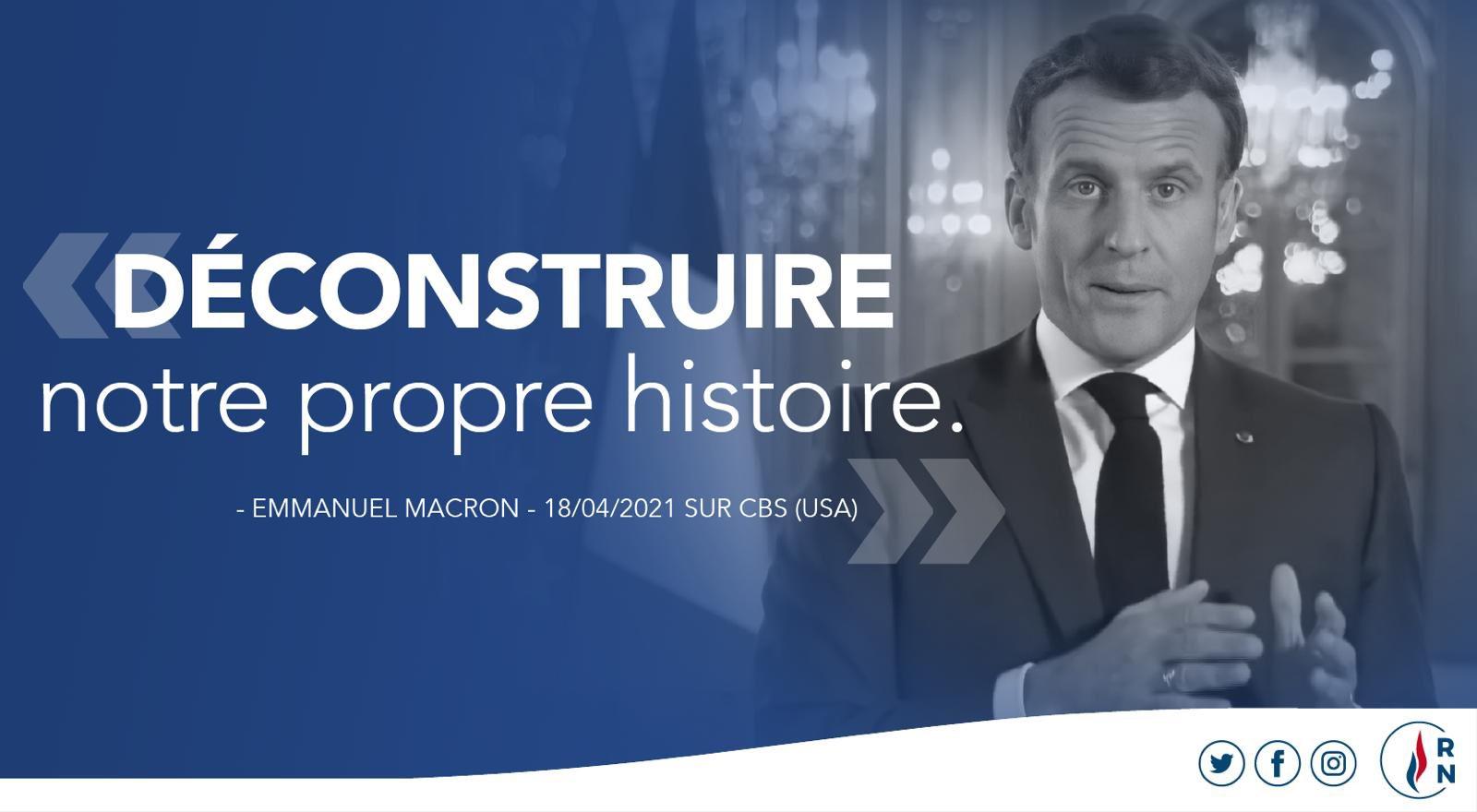"""Rassemblement National on Twitter: """"🔴 « Déconstruire notre propre histoire  » : voilà le vrai projet, exprimé à la télévision américaine, d'un  président qui culpabilise les Français, qui n'aime pas l'histoire de"""