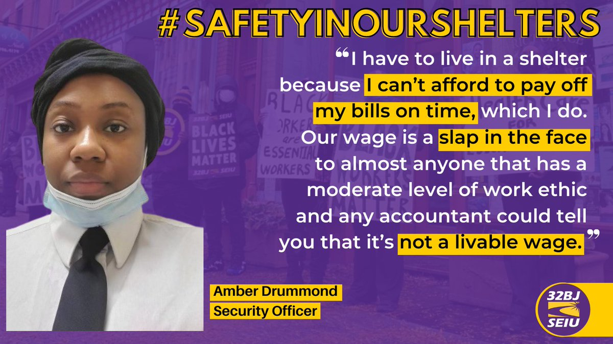 Everything about this is wrong. Security Officer Amber is paid such low wages that she is forced to live in a homeless shelter. Step up @NYCCouncil - it's time to support thousands of essential security officers who keep the city safe! #StandForSecurity https://t.co/OxJlmSSoXe