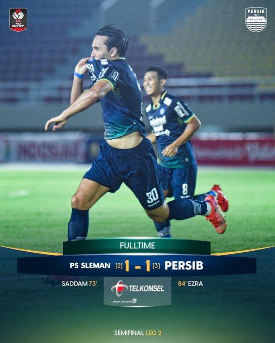 Skor akhir PS Sleman 1-1 Persib Bandung