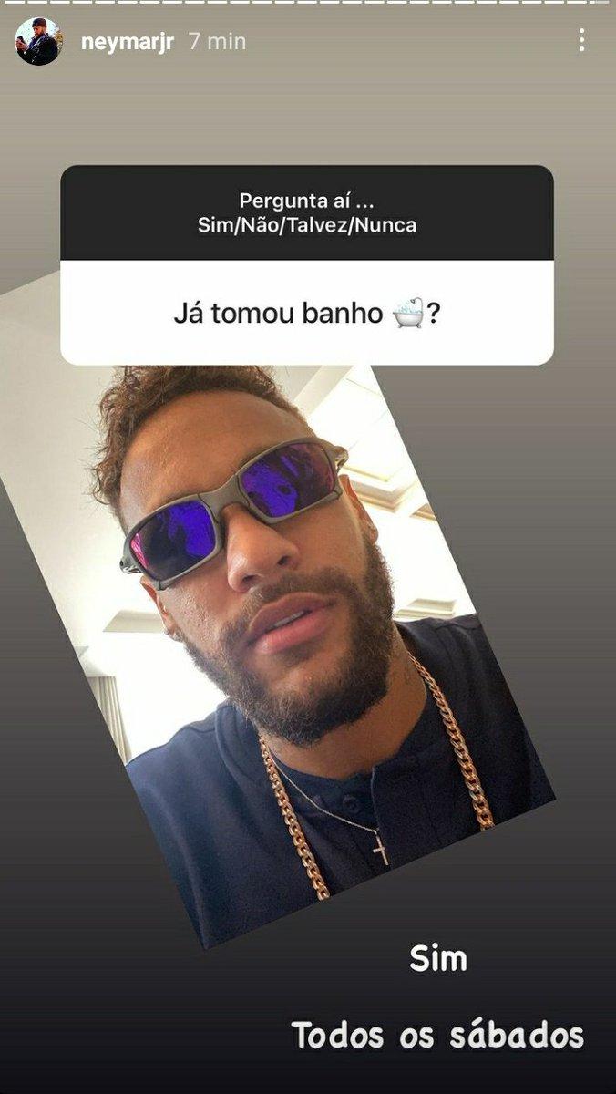 RT @neymarjrdepre: Se o Neymar só toma banho aos sábados quem sou eu pra tomar nos outros dias??? https://t.co/5F06I81Mhj